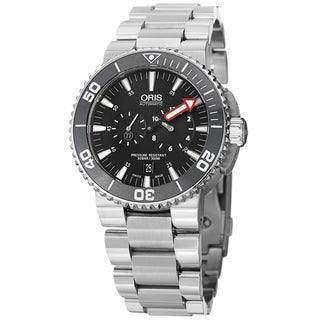 Oris Men's 749 7677 7154 MB 'Aquis' Black Dial Chronograph Titanium Watch