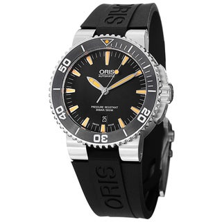 Oris Men's 733 7653 4159 RS 'Divers' Black Dial Black Rubber Strap Watch