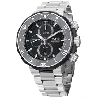 Oris Men's 'Pro Divers' Black Dial Chrono Titanium Bracelet Watch 774 7683 7154 SET