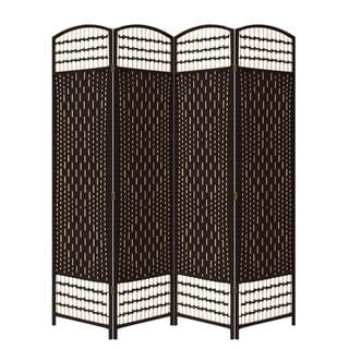Hand-crafted Espresso Brown Paper Straw Weave Screen