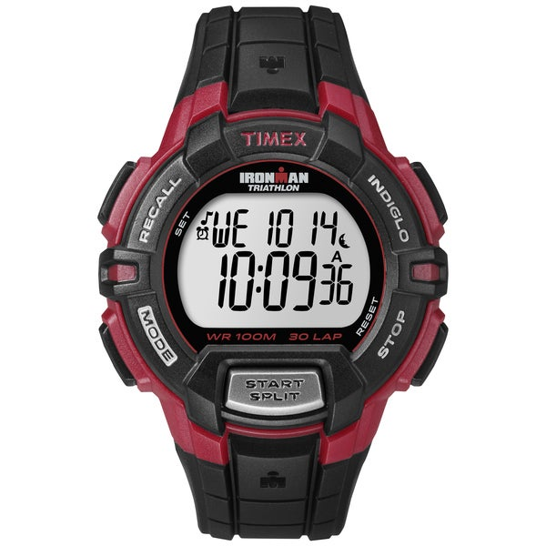 Timex Men's T5K792 Ironman Traditional 30-Lap Rugged Full-Size Black/Red Watch