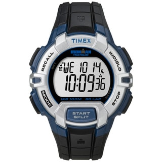 Timex Men's T5K791 Ironman Traditional 30-Lap Rugged Full-Size Black/ Blue Watch