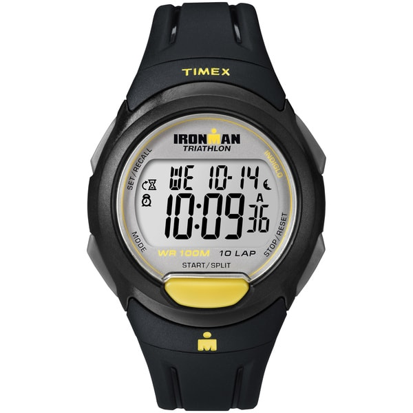 Timex Men's T5K779 Ironman Traditional 10-lap Full-size Black/ Yellow Watch