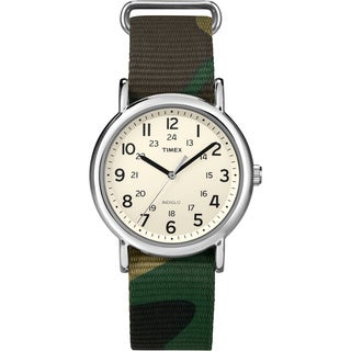 Timex Weekender Green Camo Slip-Thru Nylon Strap Watch