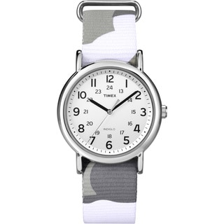 Timex 'Weekender' Grey Camo Slip-thru Nylon Strap Watch