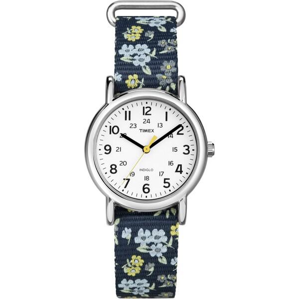 Timex Women's T2P370 Weekender Blue Floral Print Slip-Thru Nylon Strap Watch 12489358