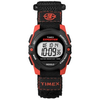 Timex 'Expedition' Mid-size Digital Black/Red Fast Wrap Strap Watch
