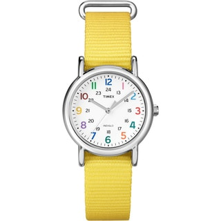 Timex Women's 'Weekender' Yellow Slip-thru Nylon Strap Watch