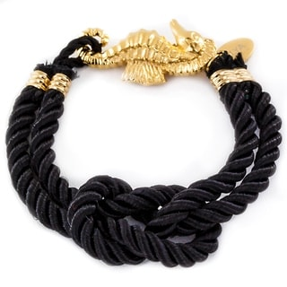 ELYA Gold Plated Stainless Steel Seahorse Clasp Knotted Nautical Bracelet
