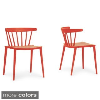 Baxton Studio Finchum Red Plastic Stackable Modern Dining Chair (Set of 2)
