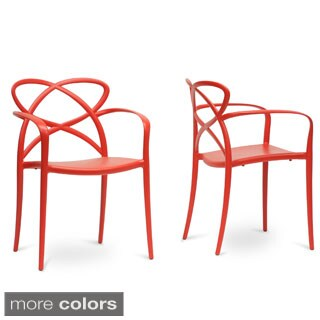 Baxton Studio Huxx Plastic Stackable Modern Dining Chair (Set of 2)