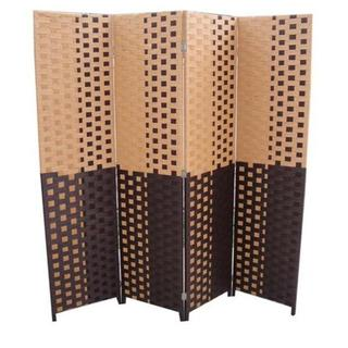 Hand-crafted 4-panel Brown/ Espresso Paper Straw Weave Screen