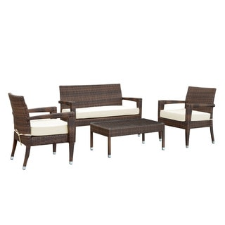 Stride Brown/ White 4-piece Patio Sectional Set