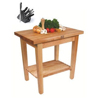 John Boos C01-S Country Butcher Block 24x35x36 Work Table with Shelf and Henckels 13 Piece Knife Block Set