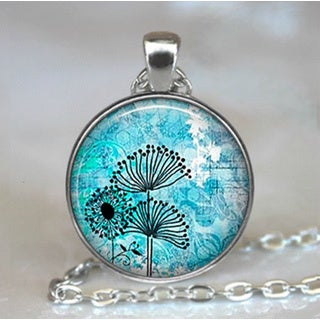 Sterling Silver Blue 'Dandelion' Glass Dome Necklace