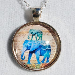Atkinson Creations Blue 'Elephants on Parade' Glass Dome Pendant Necklace