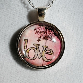 Sterling Silver Pink 'Love Flower' Glass Dome Necklace