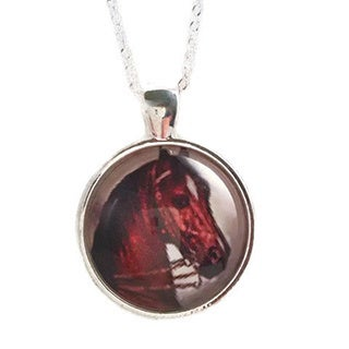 Sterling Silver Brown/ Ivory 'Majestic Steed' Glass Dome Necklace