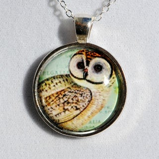 Atkinson Creations Vintage Owl Glass Dome Pendant Necklace