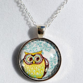 Sterling Silver Colorful 'Whimsical Owl' Glass Dome Necklace
