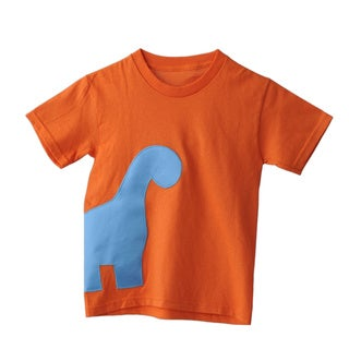Superflykids Orange Plush Dino Cotton T-shirt