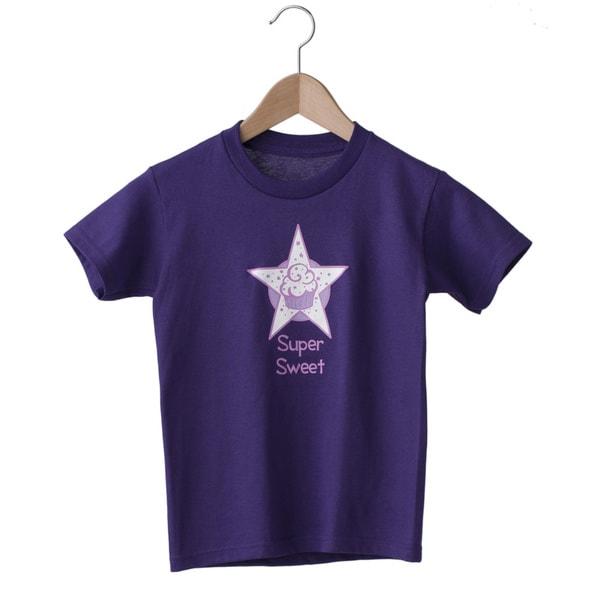 Superflykids 'Super Sweet' Purple Screenprinted Cotton T-shirt