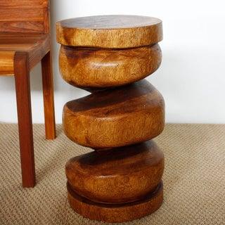 Handmade 22-inch Spiral Column Walnut Stool (Thailand)
