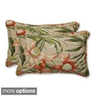 Outdoor Botanical Glow Tropical Rectangular Throw Pillow (Set of 2)