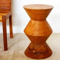 Handmade Hourglass-shaped Oak Oil Mango Stool (Thailand)