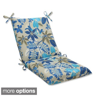Outdoor Fancy A Floral Squared Corners Chair Cushion with Ties