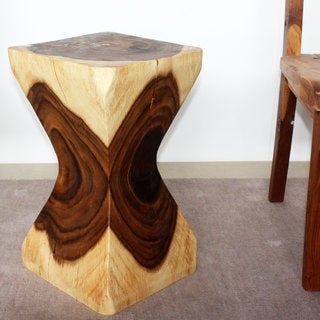 Handmade 20-inch Clear Finish X-shaped Rest Stool (Thailand)