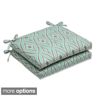 Outdoor Centro Squared Geometric Corners Seat Cushion with Ties (Set of 2)