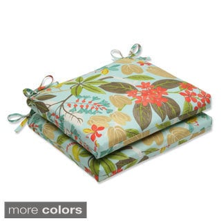 Outdoor Fancy A Floral Squared Corners Seat Cushion with Ties (Set of 2)