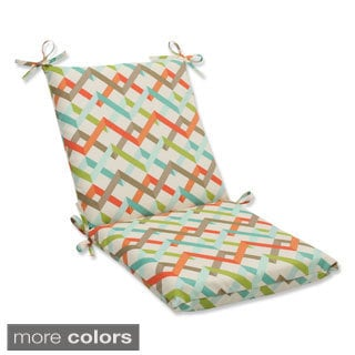 Outdoor Parallel Play Squared Corners Geometric Chair Cushion with Ties