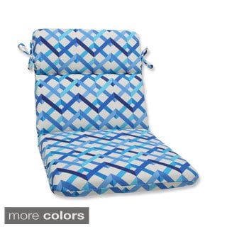 Outdoor Parallel Play Geometric Rounded Corners Chair Cushion with Ties