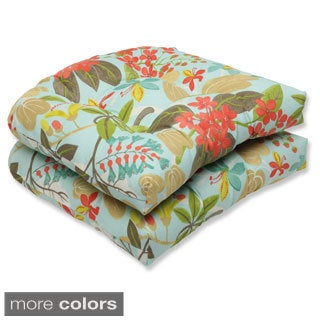 Outdoor Fancy A Floral Wicker Seat Cushion (Set of 2)