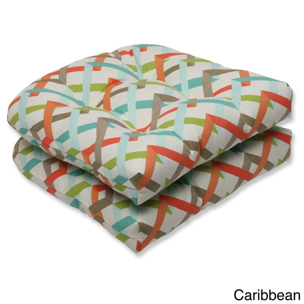 Outdoor Parallel Play Geometric Wicker Seat Cushion (Set of 2)