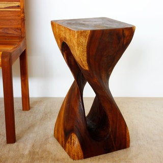 Hand-carved Walnut Single-twist Vine Stool (Thailand)