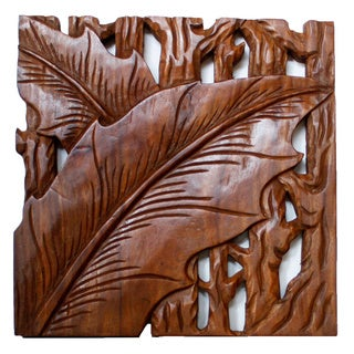 Hand-carved Autumn Leaves 18 x 18 Wall Panel Set , Handmade in Thailand