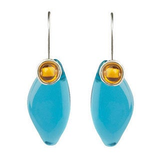 Poetry of Earth V Sterling Silver Filled Aqua/ Amber Resin Dangle Earrings (Bulgaria)