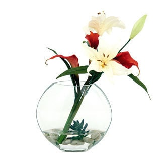 Cala Drift 16-inch Silk Plant with Glass Container