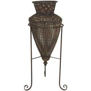Brown Wrought Iron Perforated 2-piece Flower Vase (China)