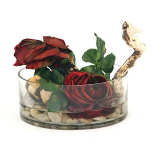 9-inch Glass Red Rose Bowl