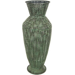 Handmade Green Perforated Wrought Iron Vase (China)