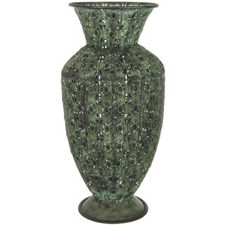 Hand-crafted Green Wrought Iron Fluted Display Vase (China)