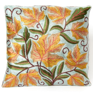 Kashmiri Dense Chain-stitch Embroidery Floral Cushion Cover (India)