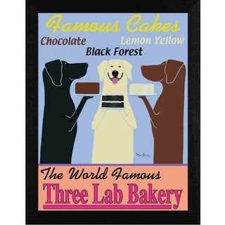 Ken Bailey 'Three Lab Bakery' Framed Wall Art