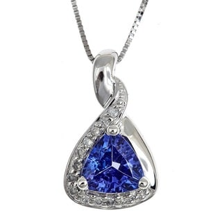 D'Yach Sterling Silver Trillion-cut Tanzanite and Diamond Accent Necklace