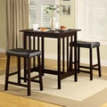 Nova Espresso 3-piece Kitchen Counter Height Dining Set