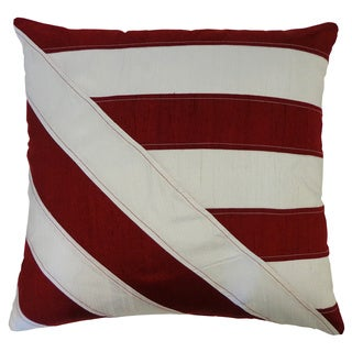 Lindsay Red/ White Striped Silk Accent Pillow